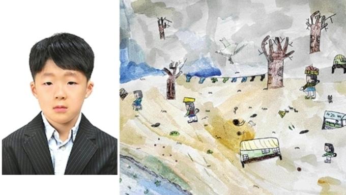 (강원일보) [제8회 박수근 사생대회]춘천 장학초교 홍윤표군 '박수근 마을' 大賞